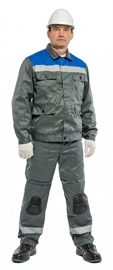 Костюм Защита со встроенными наколенниками (тк.Грета-Моготекс) брюки БиН, серый/васильковый