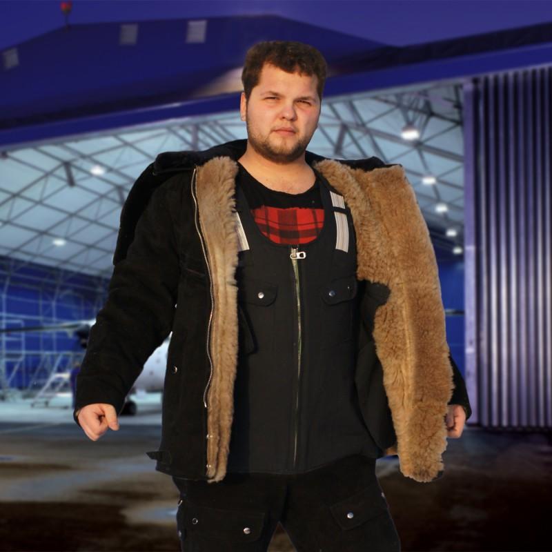 Летная меховая куртка (черная)