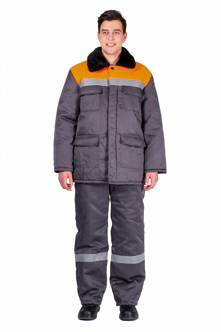 Костюм зимний мужской Партнер (тк.Смесовая,210) п/к, т.серый/оранжевый