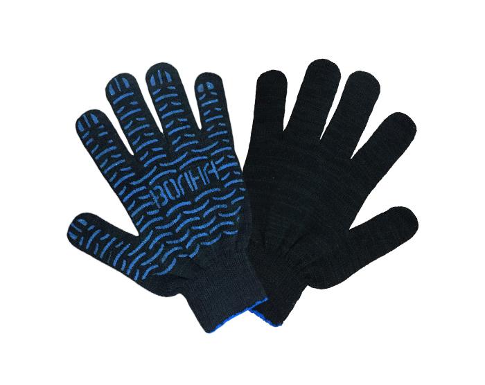 Перчатки хб 4 нити с ПВХ 10 класс Волна черные