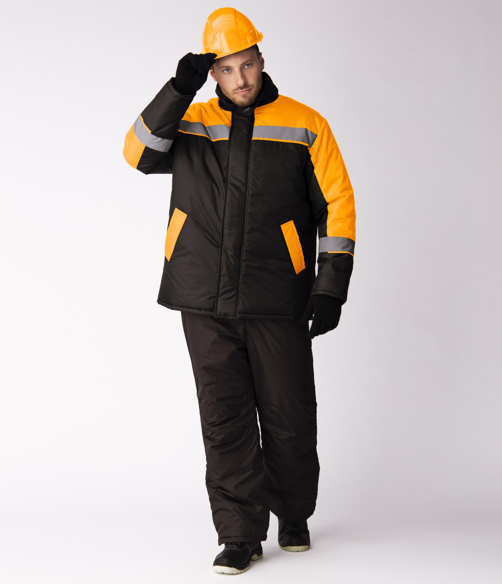 Куртка зимняя Стандарт (Оксфорд), черный/оранжевый