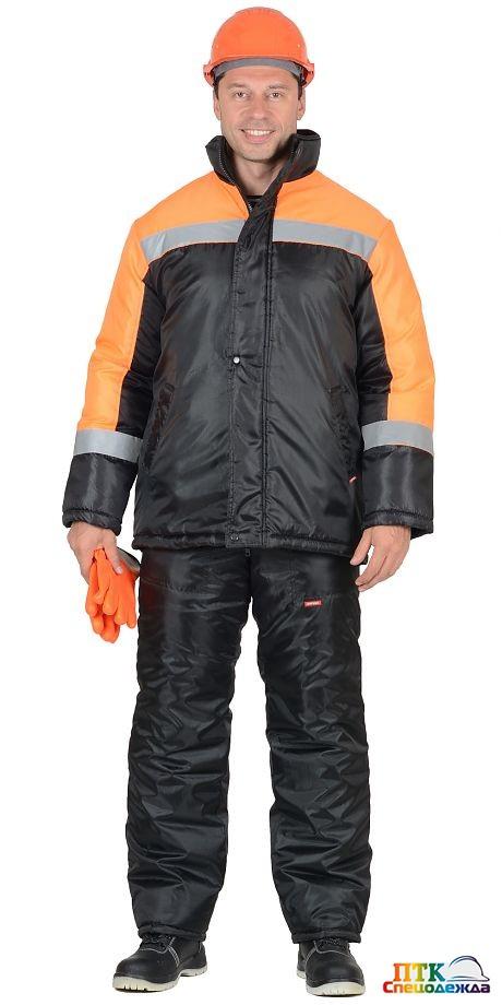 """Куртка """"ГАСТАРБАЙТЕР"""" чёрная с оранжевым"""
