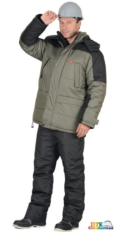 """Куртка """"ЕВРОПА"""" оливковая с чёрным"""