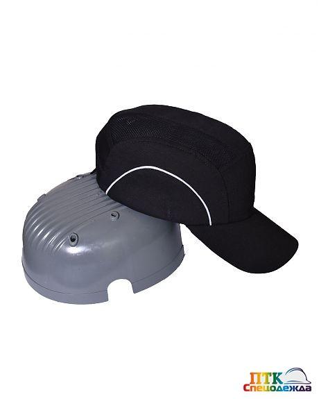 Каскетка-бейсболка защитная черная комбинированная