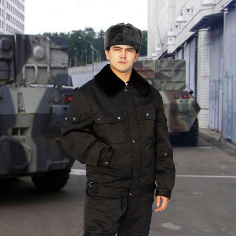 Куртка меховая крытая ОМОН (черная)