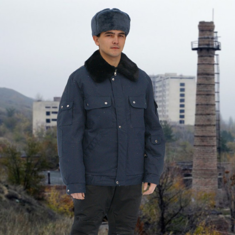 Куртка меховая крытая ОМОН (синяя)