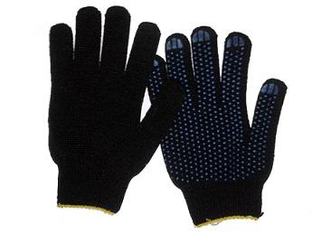 Перчатки х/б 4 нити 10 класс с ПВХ  черные