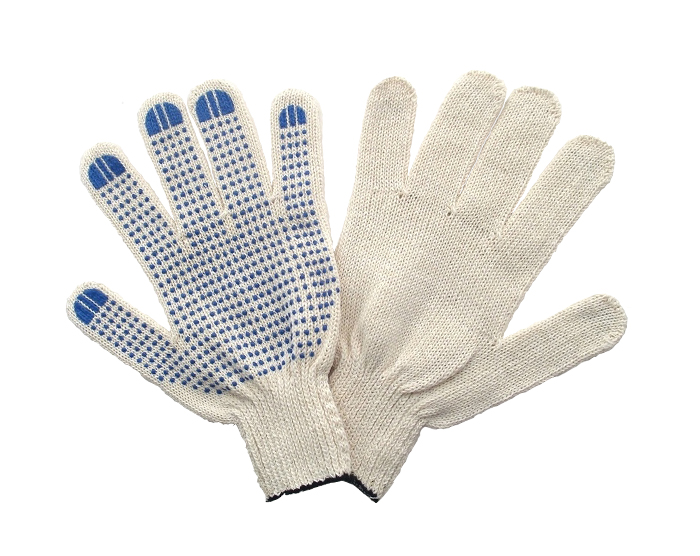 Перчатки ХБ 4 нити 7,5 класс с ПВХ 166 текс