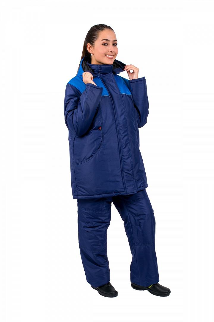 Куртка женская зимняя Снежана (тк.Taslan), т.синий/васильковый