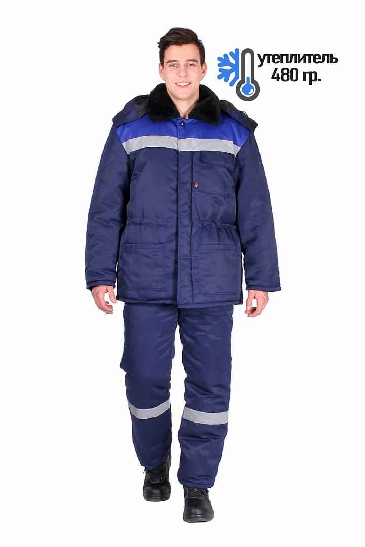 Костюм зимний Труженик-Ультра (брюки), т.синий/васильковый