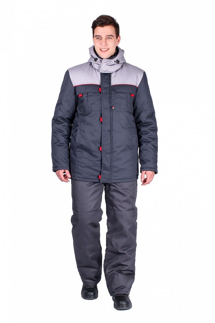 Куртка зимняя Фаворит удлиненная, т.серый/серый