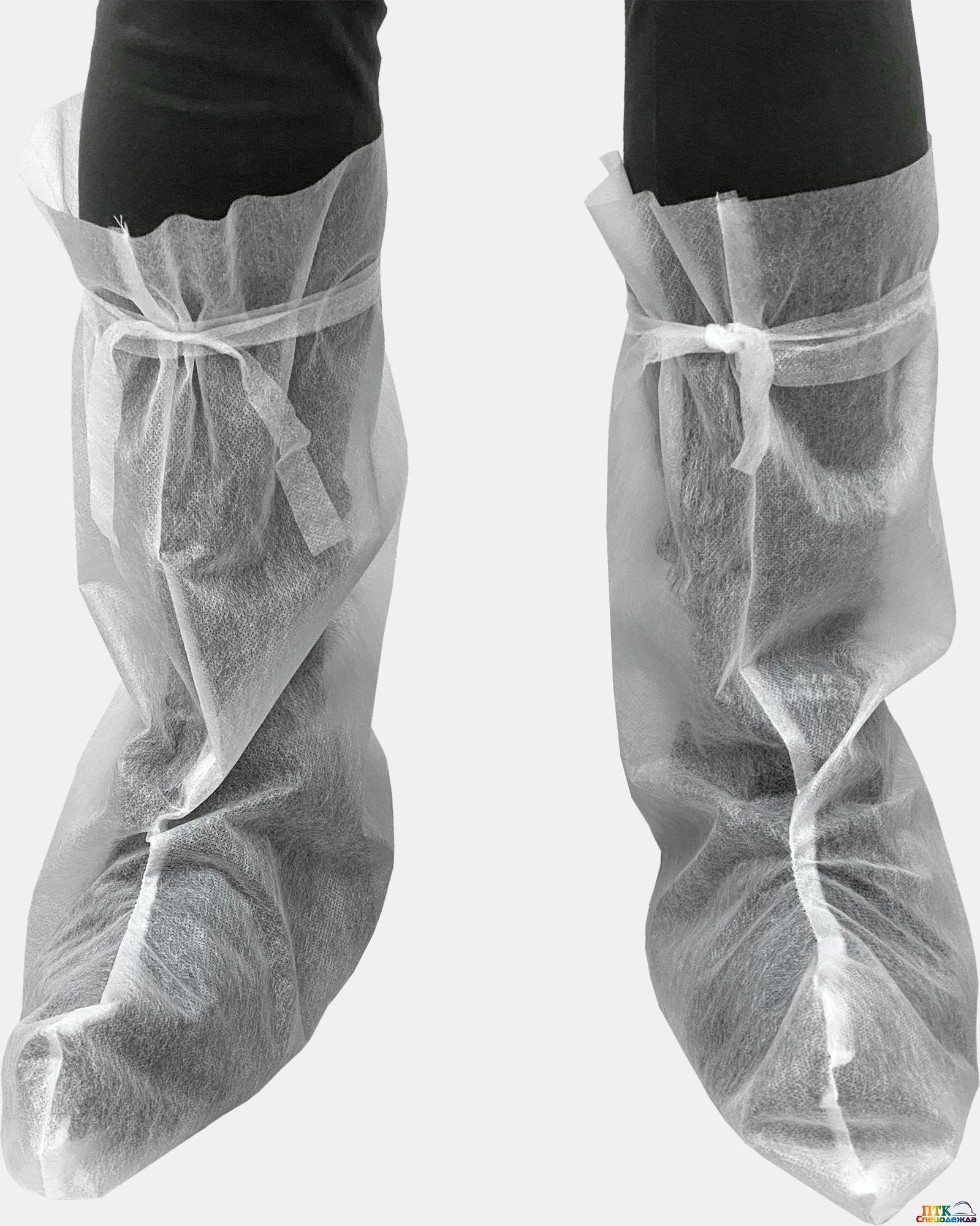 Бахилы ОДНОРАЗОВЫЕ, высокие с прямым голенищем (Одо 055)