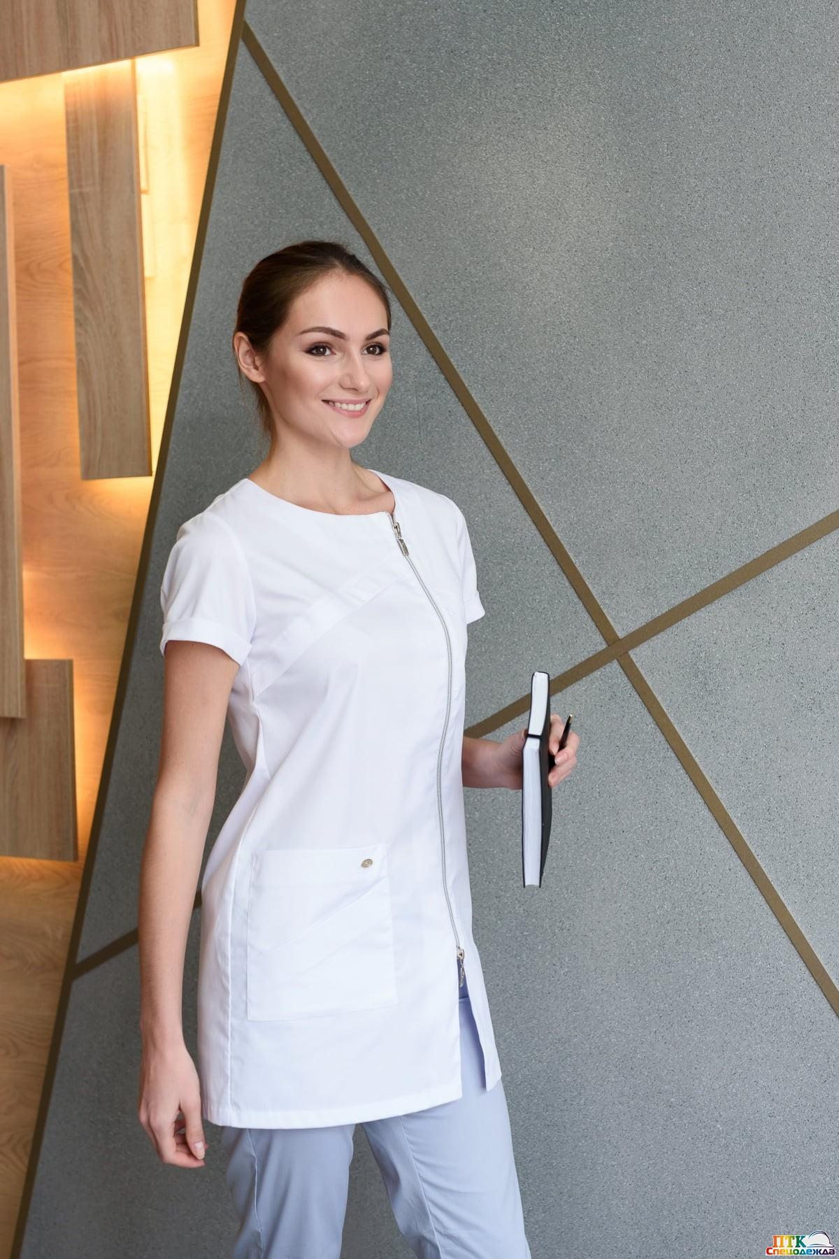 Блуза «Жемчуг», белая NEW (ЛУ 1226.01)