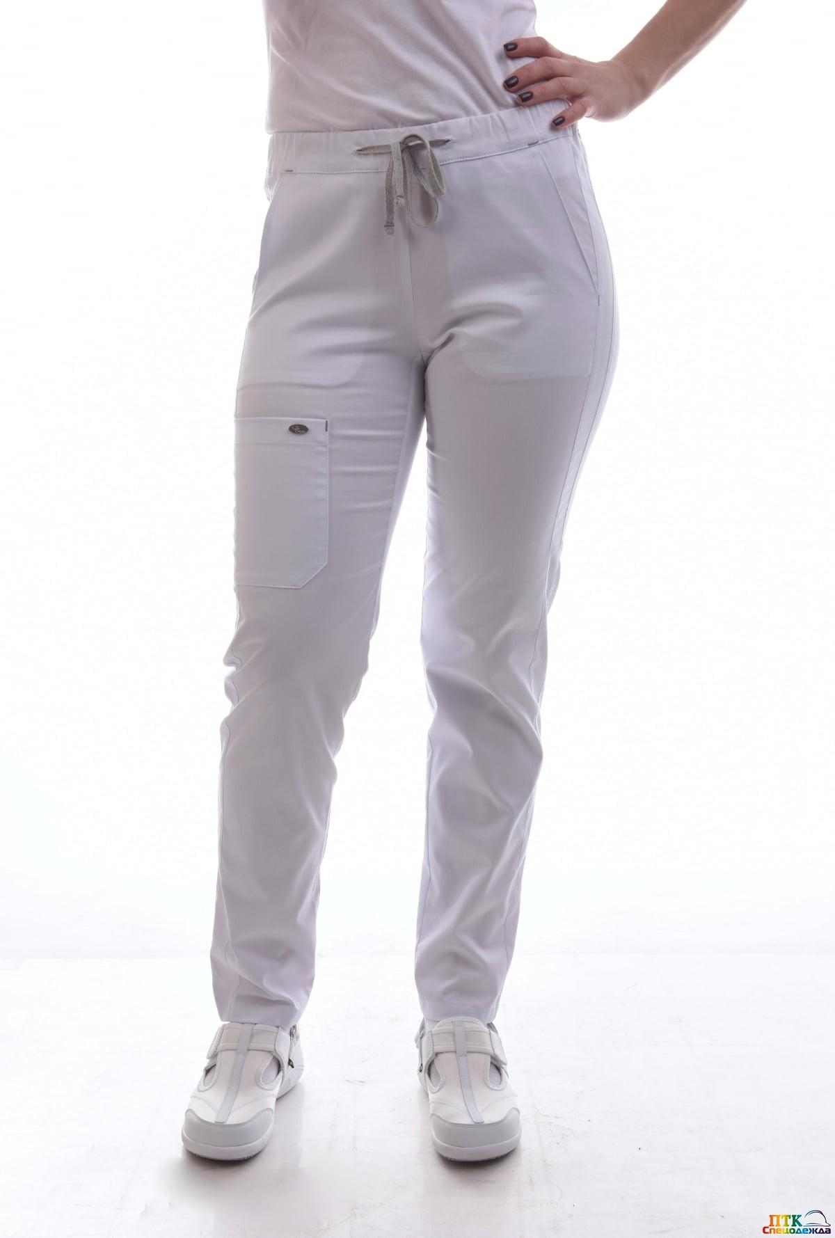 Брюки женские на шнурке белый