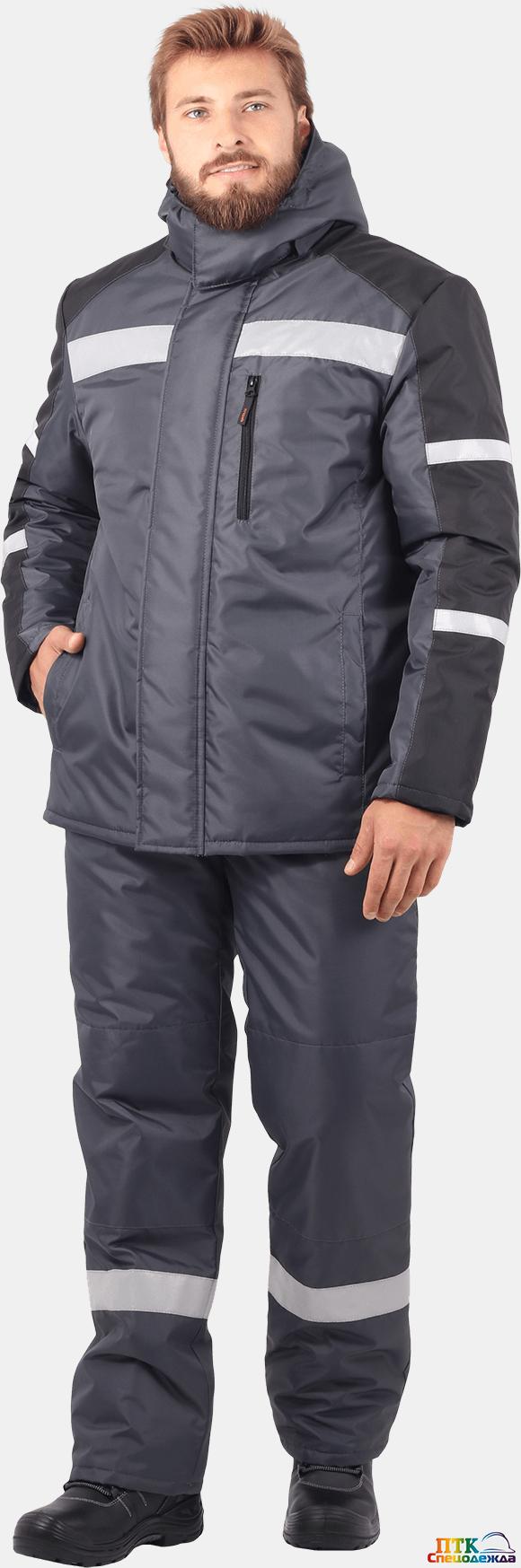Куртка РОУД утеплённая, т.серый-черный