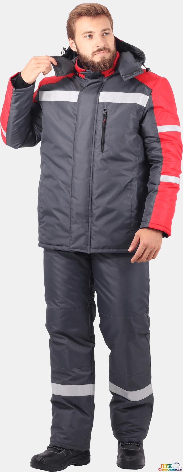 Куртка РОУД утеплённая, т/серый-красный