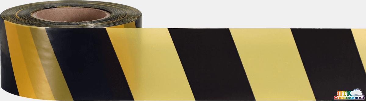 Лента оградительная 75 ш.(1х250) черная с желтым (Лен 002)