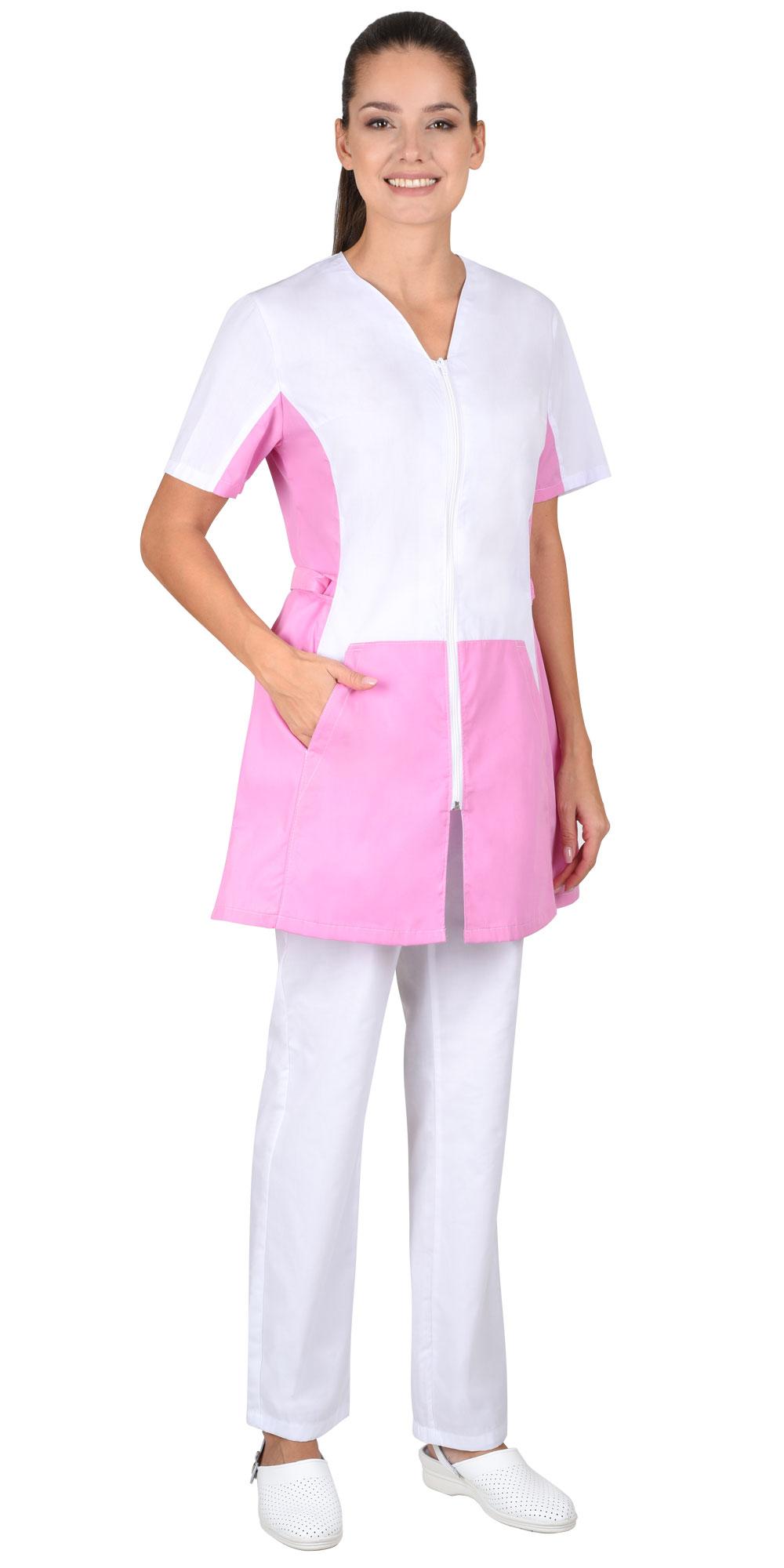 "Женская Блуза ""ЕВА"" белая с розовым"